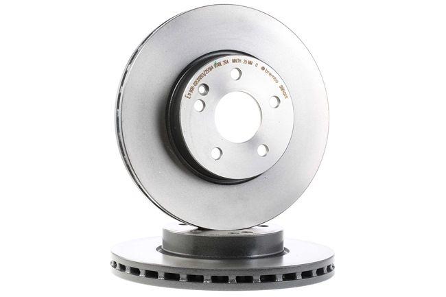 BREMBO COATED DISC LINE Kotouče MERCEDES-BENZ vnitřně ventilováno, nátěr, vysoce nauhličeno, se šrouby