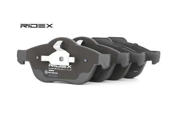 Juego de pastillas de freno RIDEX 7999451 Eje delantero, sin sensor de desgaste, con clip de émbolo