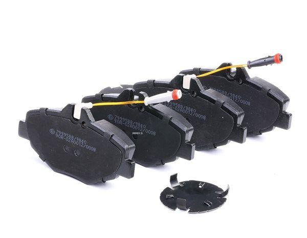 Bremseklosser RIDEX 7999588 framaksel, inkl. slitasjevarselkontakt, med klistrefolie, med skruer, med tilbehør
