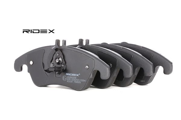 Disk brake pads RIDEX 7999697 Front Axle, prepared for wear indicator, with piston clip