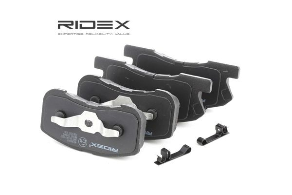 Juego de pastillas de freno RIDEX 8040414 Eje delantero, con avisador acústico de desgaste, Chapa antichirridos, con accesorios