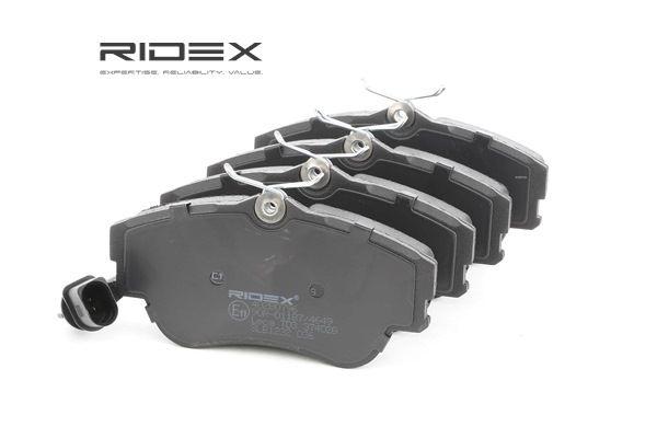 RIDEX Vorderachse, inkl. Verschleißwarnkontakt, mit Klebefolie, mit Feder, mit Zubehör 402B0796