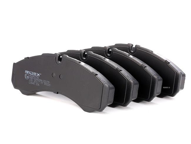 Bremsbelagsatz, Scheibenbremse 402B0758 RIDEX Hinterachse, Vorderachse, für Verschleißwarnanzeiger vorbereitet Breite 1: 164,8mm, Höhe 1: 66,5mm, Dicke/Stärke 1: 20,3mm