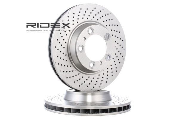 RIDEX Brake Disc Front Axle, Front Axle Left, Perforated / Vented