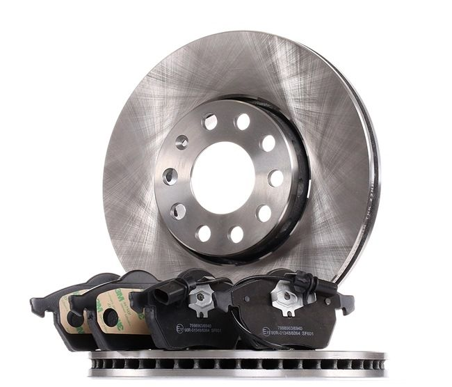 RIDEX Dual Kit Brake discs and pads VW Front Axle, Vented, incl. wear warning contact