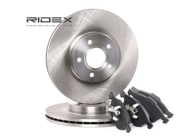 RIDEX Bremsscheiben und Beläge FORD Vorderachse, belüftet, nicht für Verschleißwarnanzeiger vorbereitet, exkl. Verschleißwarnkontakt