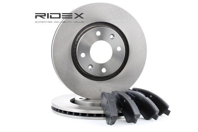 RIDEX Vorderachse, belüftet, nicht für Verschleißwarnanzeiger vorbereitet, mit Anti-Quietsch-Blech 3405B0192