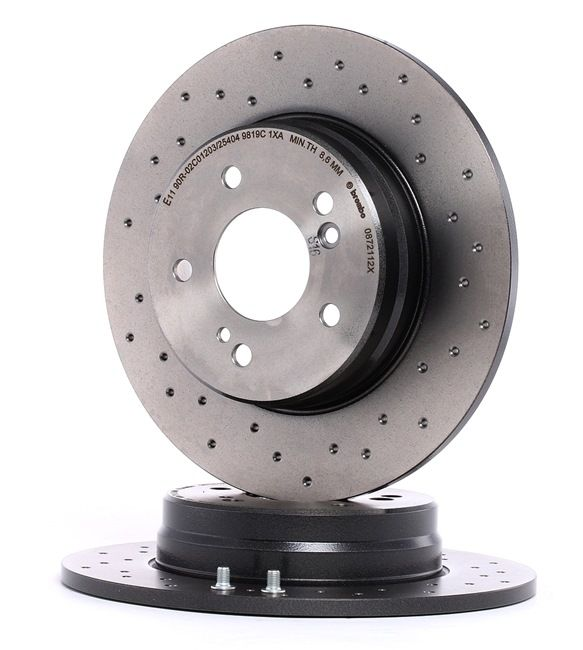 BREMBO XTRA LINE Brake rotors set Perforated, Solid, Coated, High-carbon, with screws