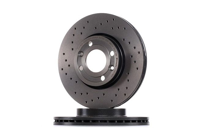 BREMBO XTRA LINE Brake rotors NISSAN Perforated / Vented, Coated, High-carbon, with screws