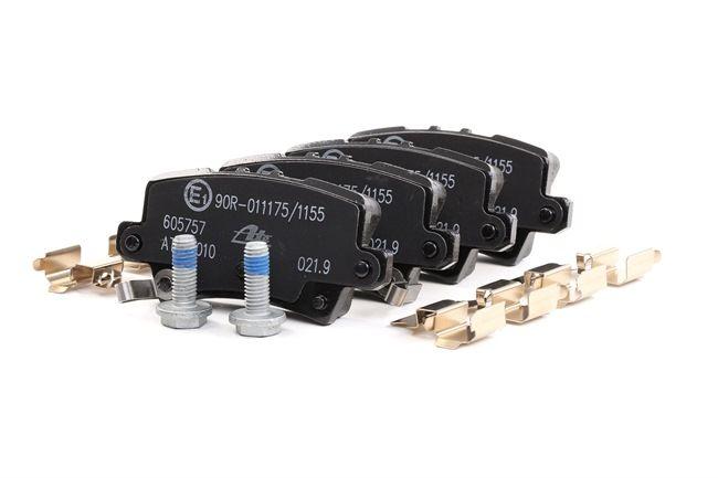 ATE Bremsbelagsatz, Scheibenbremse mit akustischer Verschleißwarnung, mit Bremssattelschrauben, mit Zubehör