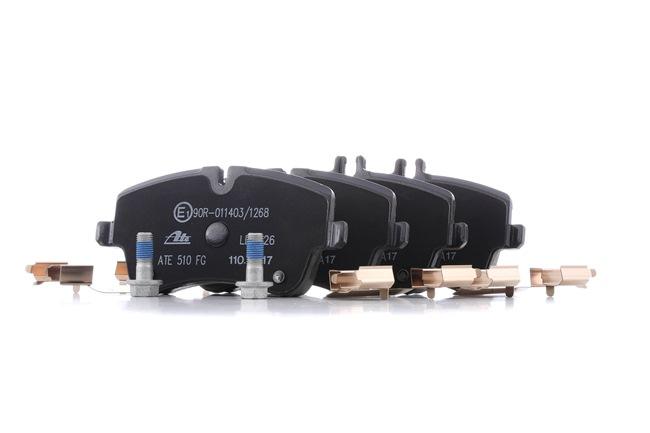 ATE Ceramic Комплект накладки MERCEDES-BENZ без предупредителен контактен датчик, подготвен за контактен датчик за износване, с болтове на спирачния апарат, с принадлежности