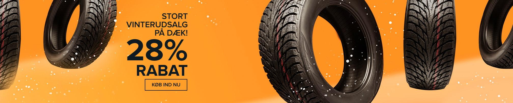 Stort vinterudsalg på dæk! 28% RABAT - Køb ind nu!