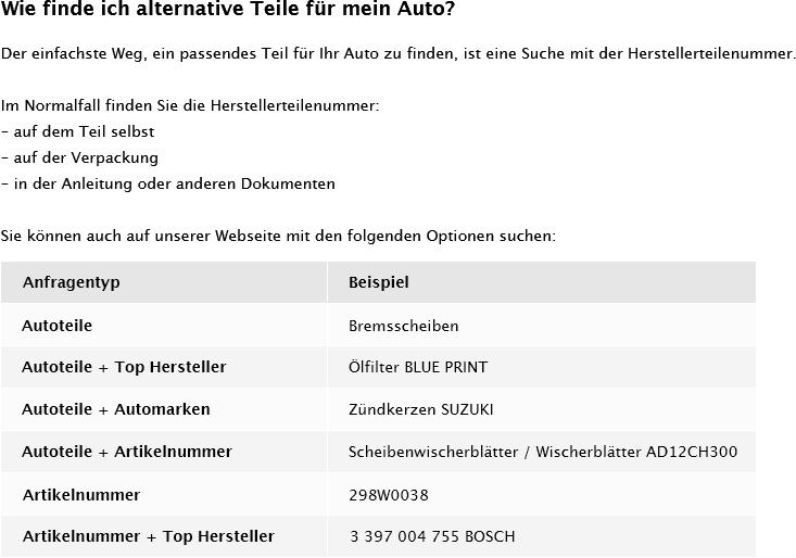 OEN 1268204944 - Wie finde ich alternative Teile fur mein Auto?